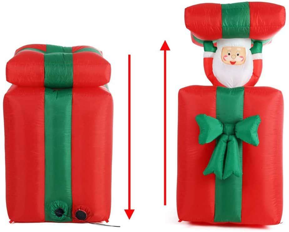 Babbo Natale gonfiabile sali e scendi da pacco regalo