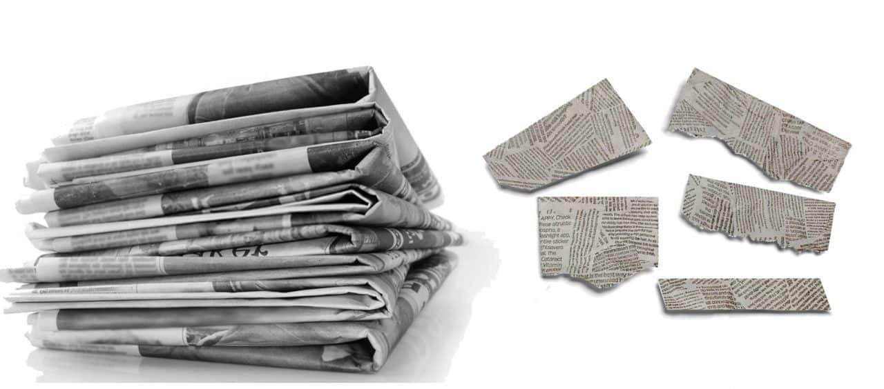 Uovo con sorpese fai da te - ritaglia dei pezzetti di giornale