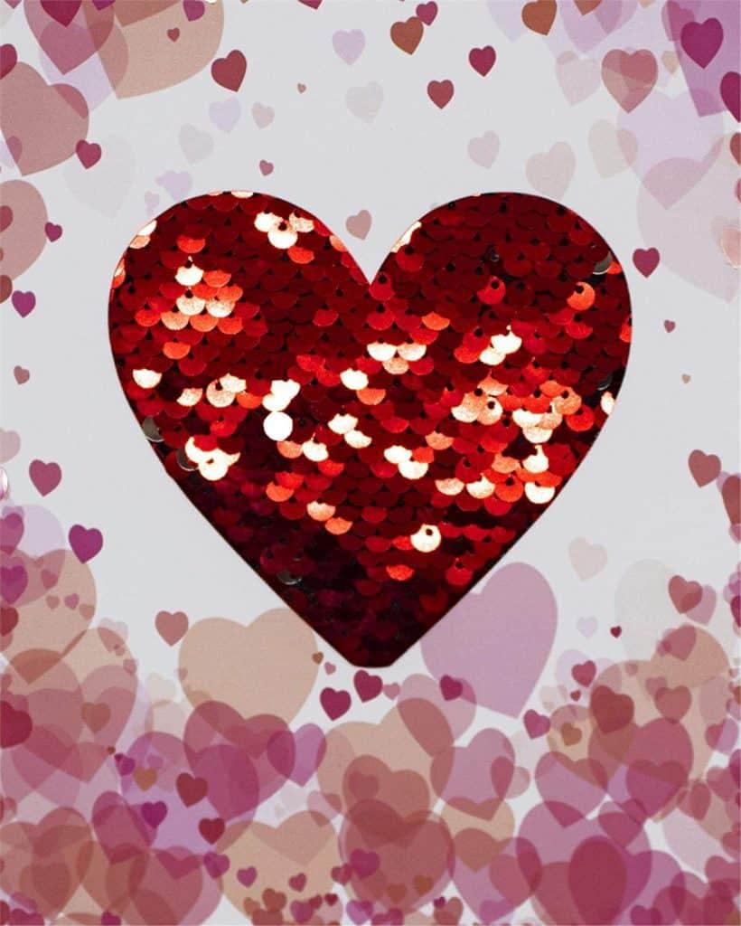 biglietto San Valentino  con cuore e paillettes