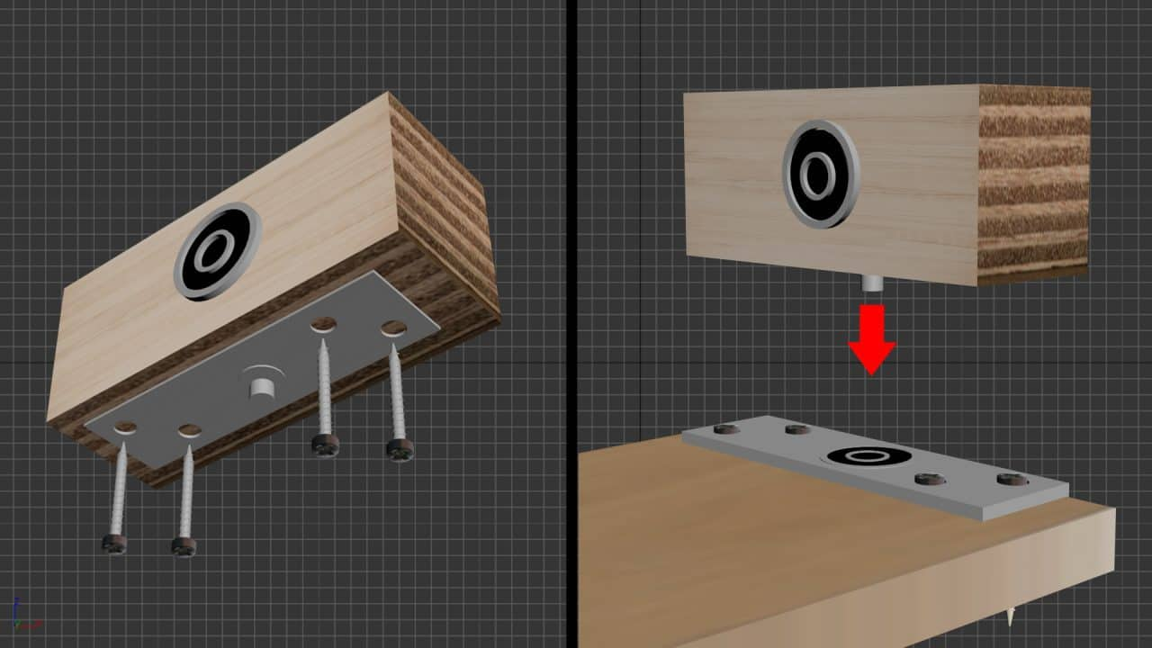 Costruire una macchina per bambini - 8. Attaccate l'altra parte della cerniera sotto i blocchetti
