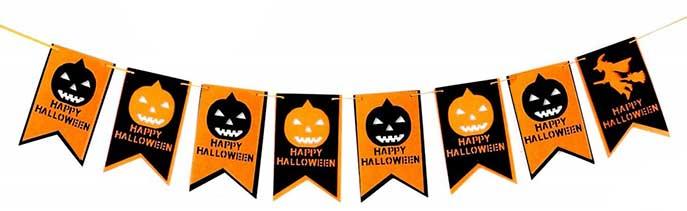 Bandierine di Halloween con zucche - decorazioni da stampare