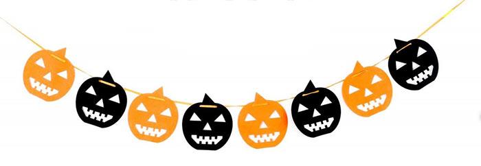 Sagome Zucche di Halloween nere ed arancioni da stampare per festone